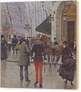 The Boulevard Des Capucines And The Vaudeville Theatre Wood Print