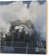 The Bow Of Uss Cowpens Plows Wood Print