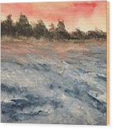 The Breaker At Sun Set  Wood Print