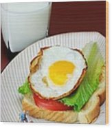 The Breakfast Little People On Food Wood Print
