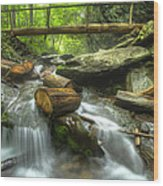 The Bridge At Alum Cave Wood Print by Debra and Dave Vanderlaan