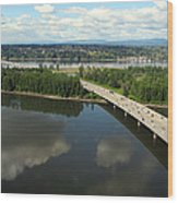 Oregon Bridge From Above Wood Print