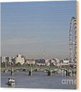 The British Airways London Eye And Westminster Bridge In London England Wood Print