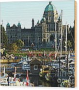 The British Columbia Capitol And Marina Wood Print