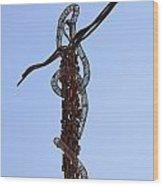 The Bronze Brazen Serpent Sculpture At Mount Nebo Jordan Wood Print by Robert Preston