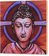 The Buddha In Red And Gold Wood Print