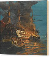 The Burning Of A Turkish Frigate Wood Print