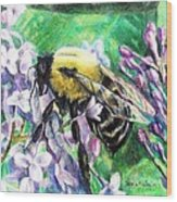 The Busy Bee And The Lilac Tree Wood Print