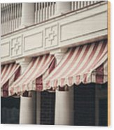 The Cafe Awnings At Chautauqua Institution New York  Wood Print