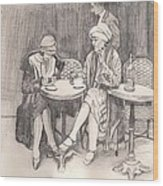 The Cafe Wood Print