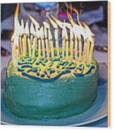 The Cake Is On Fire Wood Print