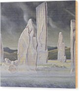The Callanish Legend Isle Of Lewis Wood Print by Evangeline Dickson