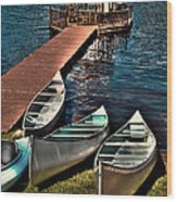 The Canoes At Big Moose Inn Wood Print