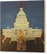 The Capitol At Christmas Wood Print