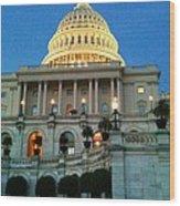 The Capitol At Dusk Wood Print