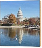 The Capitol In Fall Wood Print
