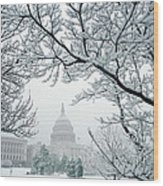 The Capitol In Snow Wood Print