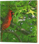 The Cardinal 2 Painterly Wood Print