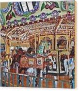 The Carousel Ride Wood Print