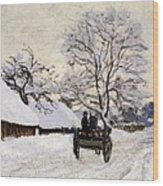 The Carriage- The Road To Honfleur Under Snow Wood Print