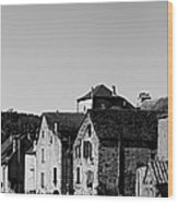 The Castle Above The Village Panorama In Black Nd White Wood Print