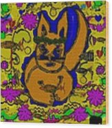 The Cat And His Fish Popart Wood Print