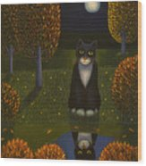 The Cat And The Moon Wood Print