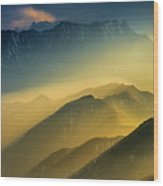 The Cattle-back Mountain Sunset Wood Print