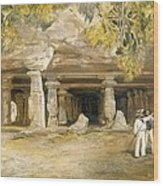The Cave Of Elephanta, From India Wood Print