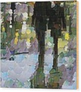The Champs Elyseee After The Rain Wood Print