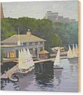 The Charles River Sailing Club Wood Print