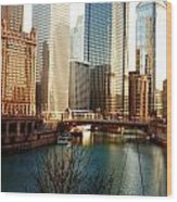 The Chicago River From The Michigan Avenue Bridge Wood Print