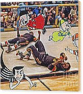 The Chipmunks Skating Roller Derby Wood Print