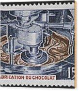 The Chocolate Factory Vintage Postage Stamp Wood Print