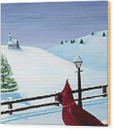 The Christmas Cardinal Wood Print by Spencer Hudon II