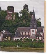 The Church And Heimburg In Niederheimsbach Am Rhein Wood Print