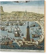 The City And Port Of Barcelona 18th C Wood Print
