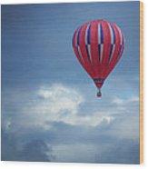 The Clouds Below - Hot Air Balloon Wood Print