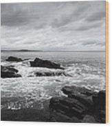 The Cloudy Day In Acadia National Park Maine Wood Print