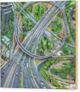 The Clover Interchange (semanggi) Wood Print