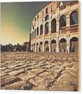 The Coliseum In Rome Wood Print