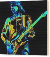 The Colorful Sound Of Mick Playing Guitar Wood Print