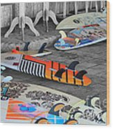 The Colorfulness Of Surfing Wood Print