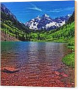The Colors Of Maroon Bells In Summer Wood Print