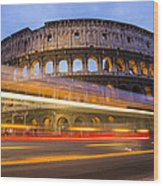 The Colosseum-blue Hour Wood Print