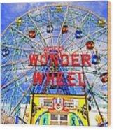 The Coney Island Wonder Wheel Wood Print