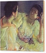 The Conversation Wood Print by Mary Stevenson Cassatt