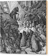The Council Held By The Rats Wood Print by Gustave Dore
