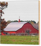 The Country Red Barn Wood Print