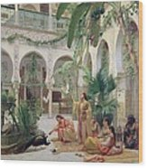 The Court Of The Harem Wood Print by Albert Girard
